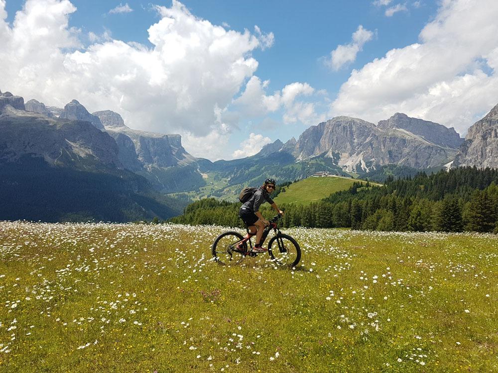 Pyöräilyä Dolomiiteilla niityn keskellä