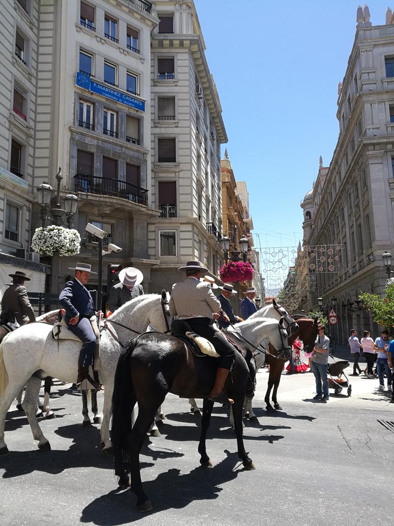 Miehet ratsastivat hevosilla Granadan paikallisessa juhlassa